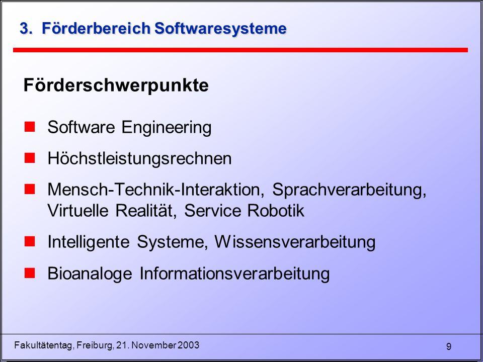 9 Fakultätentag, Freiburg, 21. November 2003 3. Förderbereich Softwaresysteme Förderschwerpunkte nSoftware Engineering nHöchstleistungsrechnen nMensch