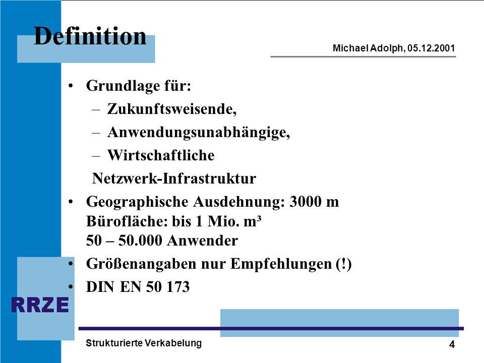 4 Michael Adolph, 05.12.2001 Strukturierte Verkabelung Definition Grundlage für: –Zukunftsweisende, –Anwendungsunabhängige, –Wirtschaftliche Netzwerk-Infrastruktur Geographische Ausdehnung: 3000 m Bürofläche: bis 1 Mio.