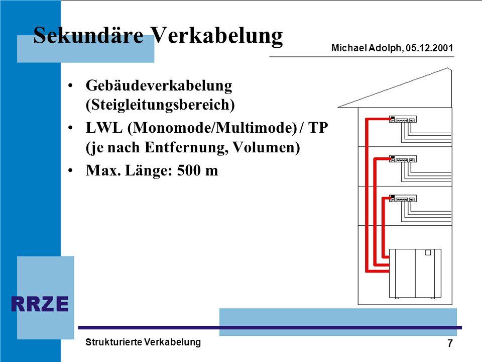 7 Michael Adolph, 05.12.2001 Strukturierte Verkabelung Sekundäre Verkabelung Gebäudeverkabelung (Steigleitungsbereich) LWL (Monomode/Multimode) / TP (je nach Entfernung, Volumen) Max.