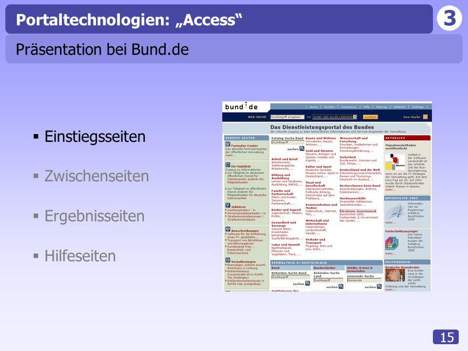 """3 15 Präsentation bei Bund.de  Einstiegsseiten  Zwischenseiten  Ergebnisseiten  Hilfeseiten Portaltechnologien: """"Access"""""""