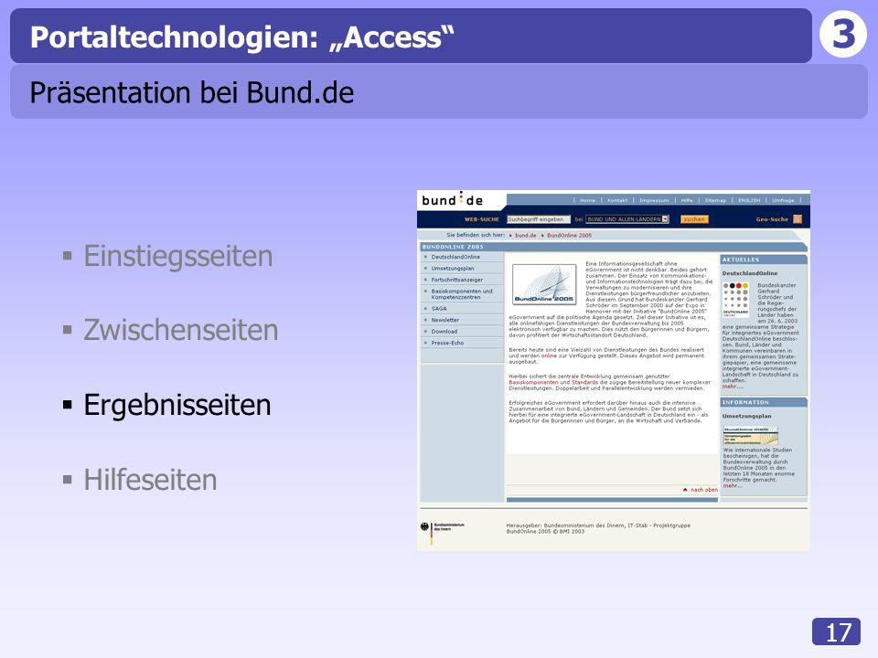 """3 17 Portaltechnologien: """"Access""""  Einstiegsseiten  Zwischenseiten  Ergebnisseiten  Hilfeseiten Präsentation bei Bund.de"""