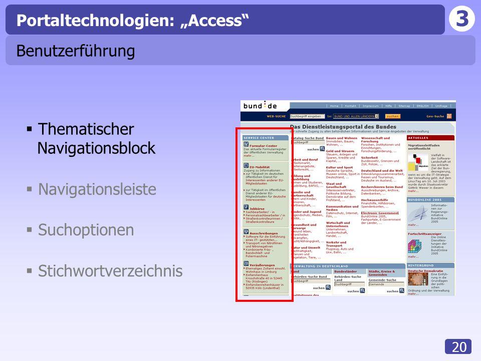 """3 20 Benutzerführung  Thematischer Navigationsblock  Navigationsleiste  Suchoptionen  Stichwortverzeichnis Portaltechnologien: """"Access"""""""