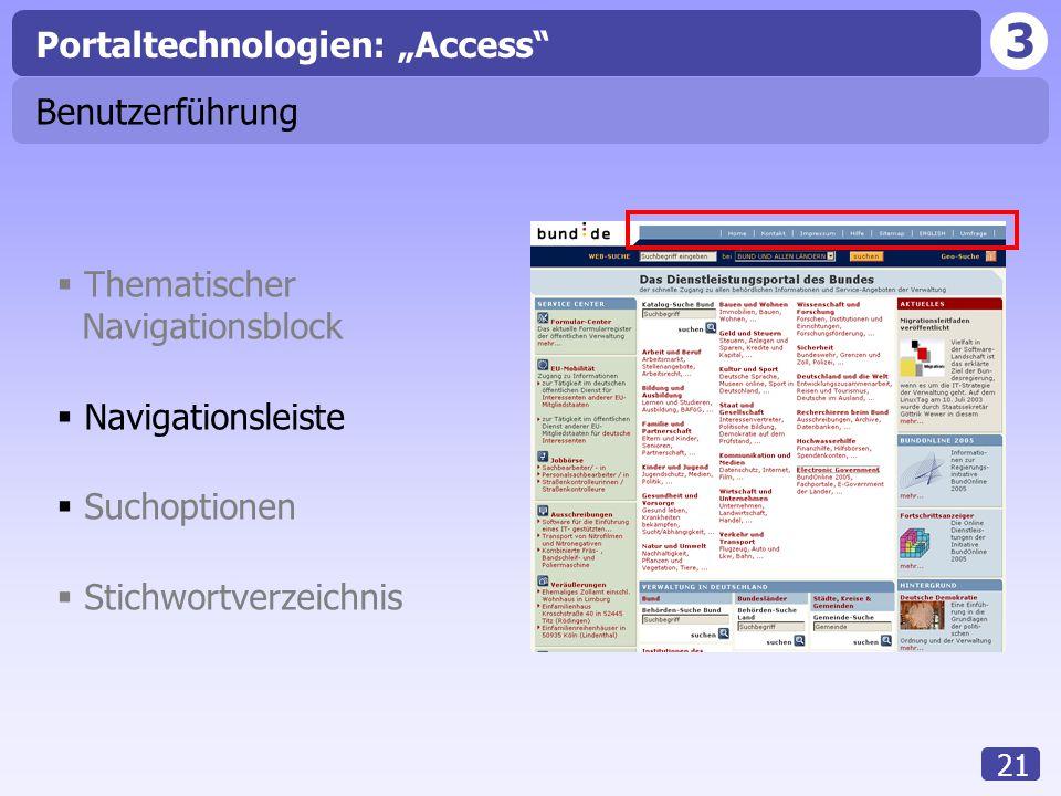 """3 21 Benutzerführung Portaltechnologien: """"Access""""  Thematischer Navigationsblock  Navigationsleiste  Suchoptionen  Stichwortverzeichnis"""