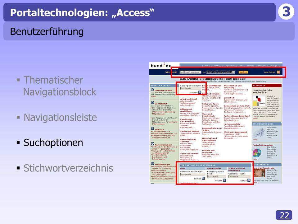 """3 22 Benutzerführung Portaltechnologien: """"Access""""  Thematischer Navigationsblock  Navigationsleiste  Suchoptionen  Stichwortverzeichnis"""