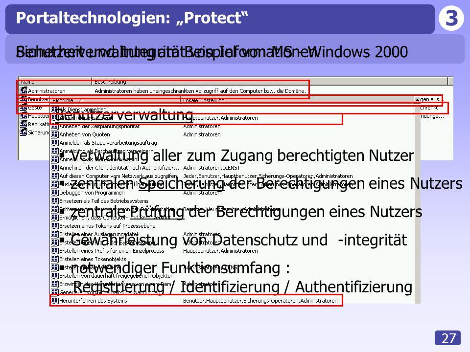 """3 27 Portaltechnologien: """"Protect Sicherheit und Integrität von Informationen Benutzerverwaltung  Verwaltung aller zum Zugang berechtigten Nutzer  zentralen Speicherung der Berechtigungen eines Nutzers  zentrale Prüfung der Berechtigungen eines Nutzers  Gewährleistung von Datenschutz und -integrität  notwendiger Funktionsumfang : Registrierung / Identifizierung / Authentifizierung Benutzerverwaltung am Beispiel von MS - Windows 2000"""
