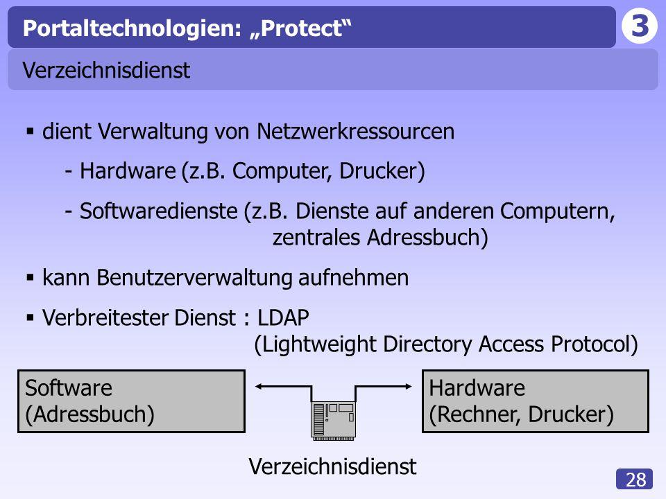 """3 28 Portaltechnologien: """"Protect"""" Verzeichnisdienst  dient Verwaltung von Netzwerkressourcen - Hardware (z.B. Computer, Drucker) - Softwaredienste ("""
