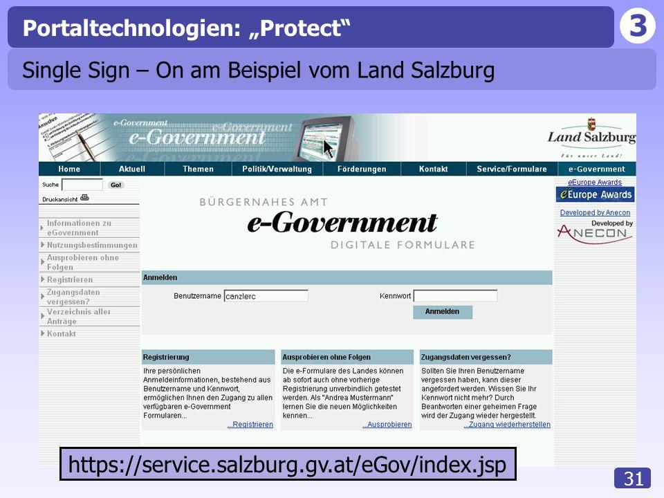 """3 31 Portaltechnologien: """"Protect Single Sign – On am Beispiel vom Land Salzburg https://service.salzburg.gv.at/eGov/index.jsp"""