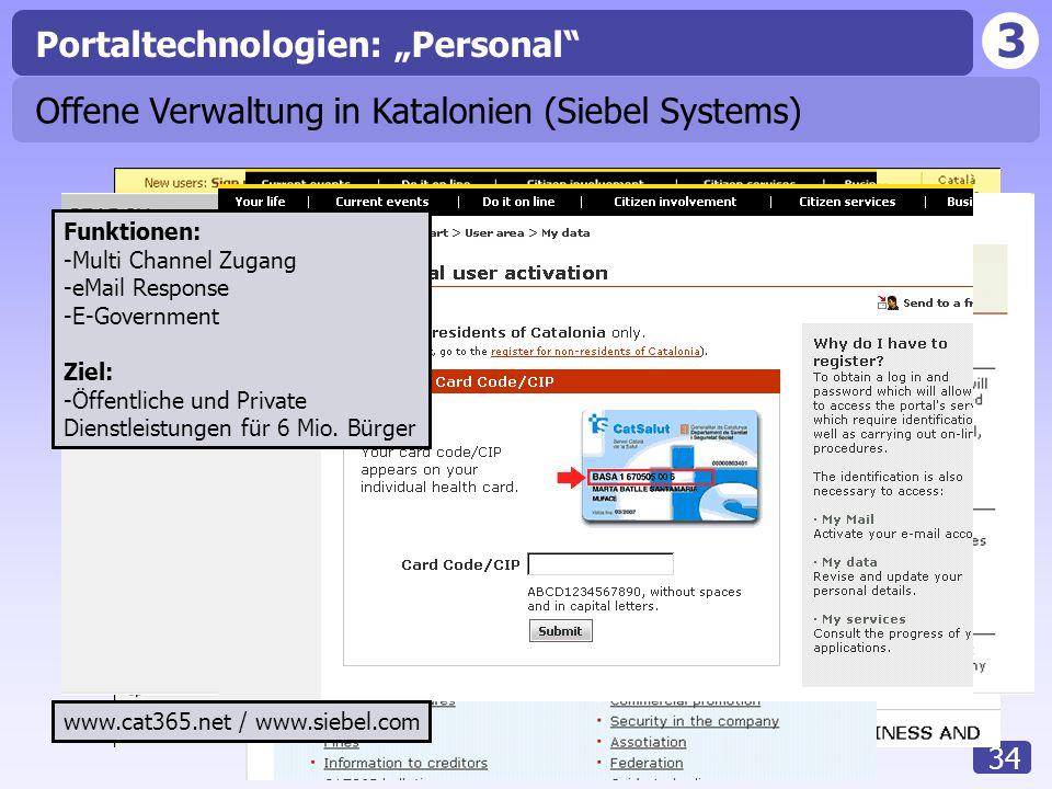3 34 Offene Verwaltung in Katalonien (Siebel Systems) Funktionen: -Multi Channel Zugang -eMail Response -E-Government Ziel: -Öffentliche und Private D