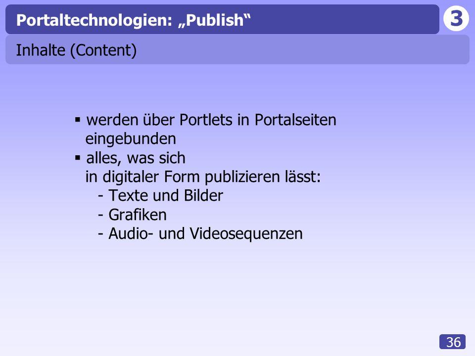 """3 36 Inhalte (Content)  werden über Portlets in Portalseiten eingebunden  alles, was sich in digitaler Form publizieren lässt: - Texte und Bilder - Grafiken - Audio- und Videosequenzen Portaltechnologien: """"Publish"""