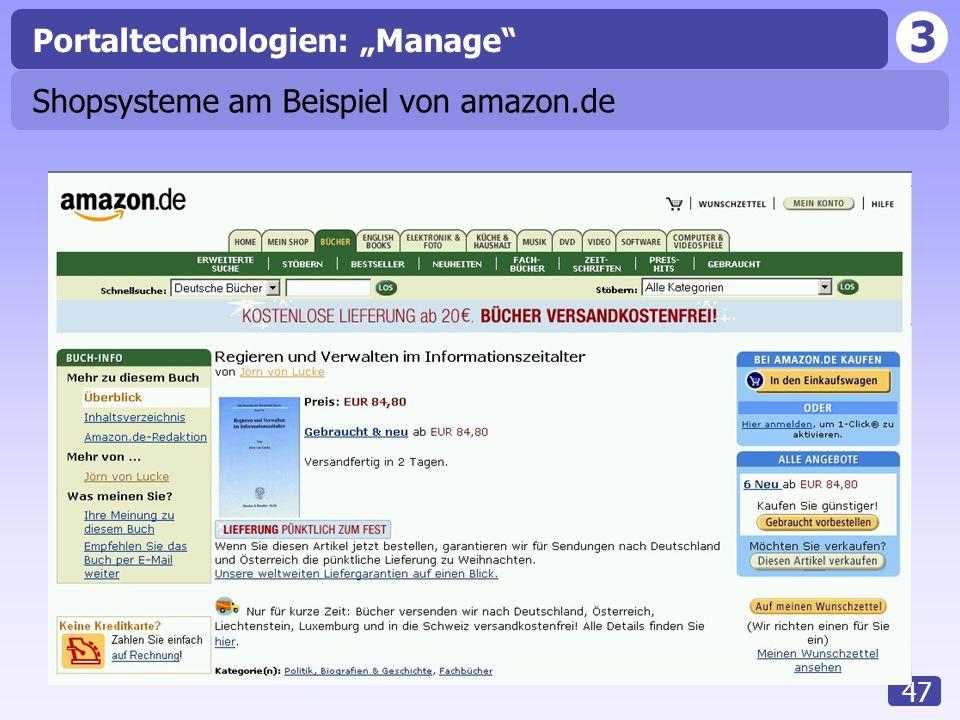 """3 47 Portaltechnologien: """"Manage Shopsysteme am Beispiel von amazon.de"""