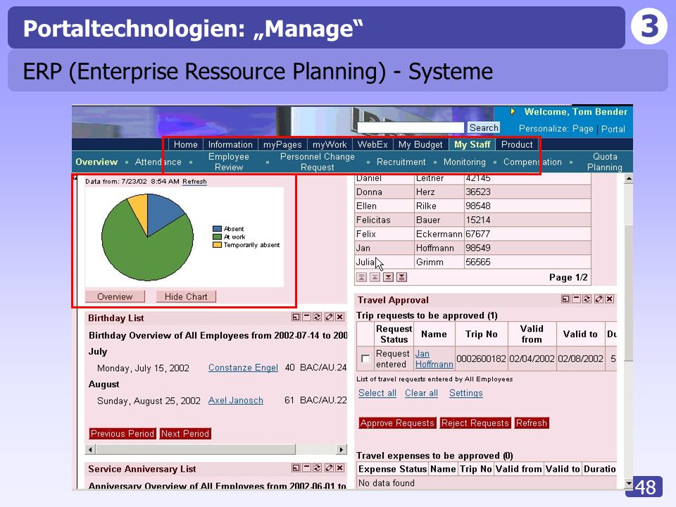 "3 48 Portaltechnologien: ""Manage"" ERP (Enterprise Ressource Planning) - Systeme"