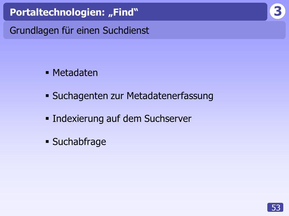 """3 53 Grundlagen für einen Suchdienst  Metadaten  Suchagenten zur Metadatenerfassung  Indexierung auf dem Suchserver  Suchabfrage Portaltechnologien: """"Find"""