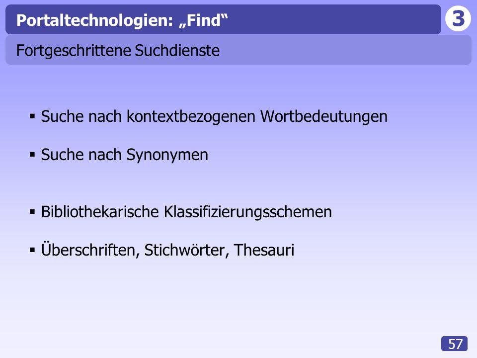 """3 57 Fortgeschrittene Suchdienste  Suche nach kontextbezogenen Wortbedeutungen  Suche nach Synonymen  Bibliothekarische Klassifizierungsschemen  Überschriften, Stichwörter, Thesauri Portaltechnologien: """"Find"""