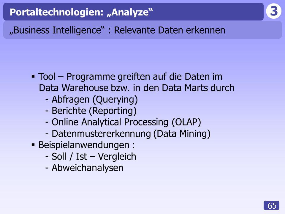 """3 65 Portaltechnologien: """"Analyze """"Business Intelligence : Relevante Daten erkennen  Tool – Programme greiften auf die Daten im Data Warehouse bzw."""