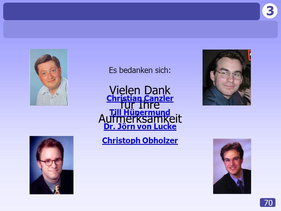 3 70 Vielen Dank für Ihre Aufmerksamkeit Es bedanken sich: Christian Canzler Till Hünermund Dr. Jörn von Lucke Christoph Obholzer