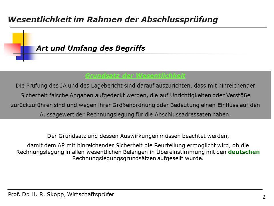2 Wesentlichkeit im Rahmen der Abschlussprüfung Prof.
