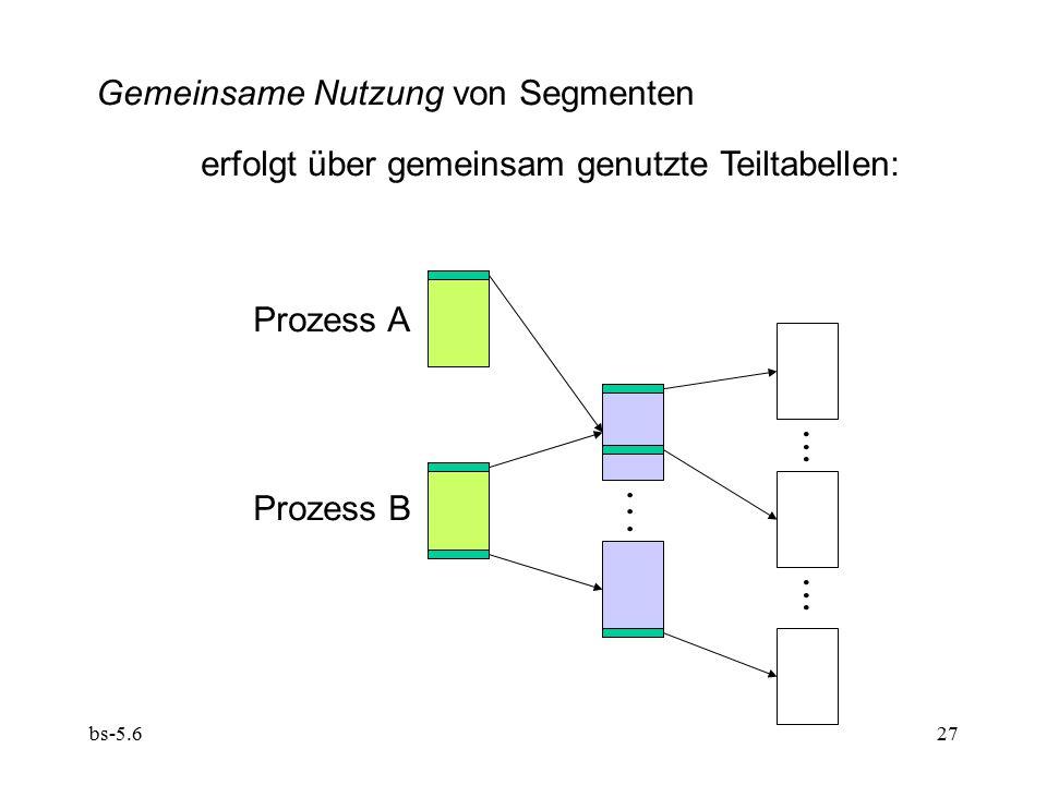 bs-5.627 Gemeinsame Nutzung von Segmenten erfolgt über gemeinsam genutzte Teiltabellen:.................. Prozess A Prozess B
