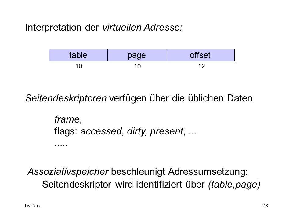 bs-5.628 Interpretation der virtuellen Adresse: tablepageoffset 10 1012 Seitendeskriptoren verfügen über die üblichen Daten frame, flags: accessed, dirty, present,........
