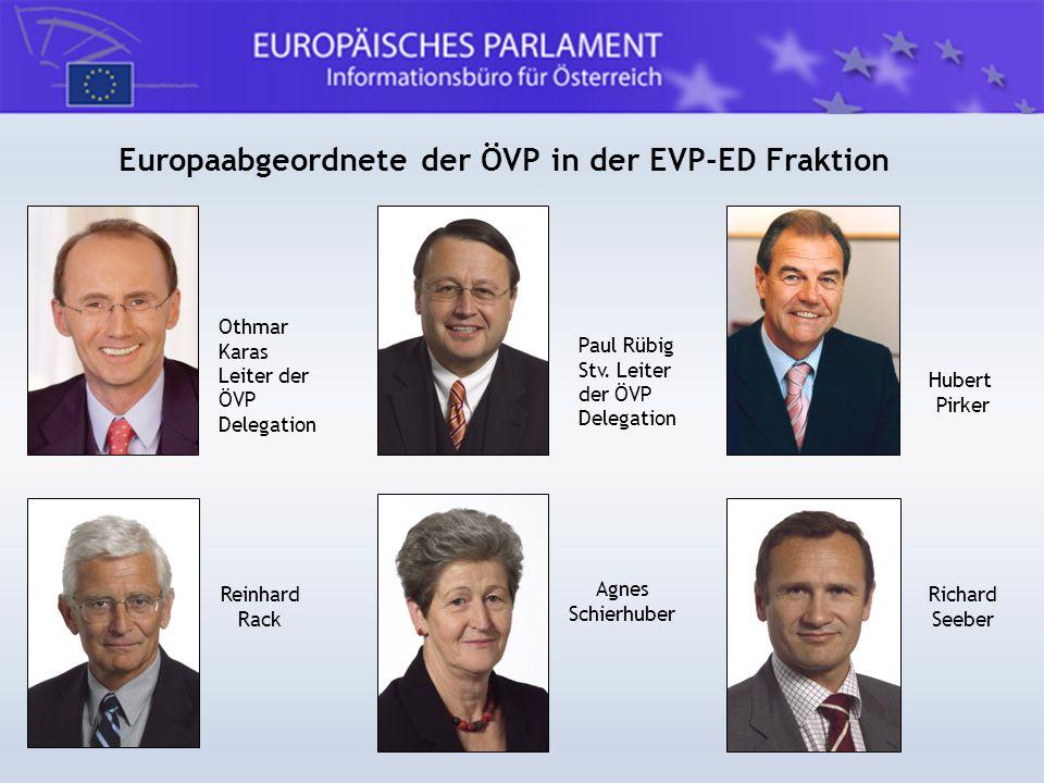 Europaabgeordnete der ÖVP in der EVP-ED Fraktion Othmar Karas Leiter der ÖVP Delegation Paul Rübig Stv. Leiter der ÖVP Delegation Hubert Pirker Reinha