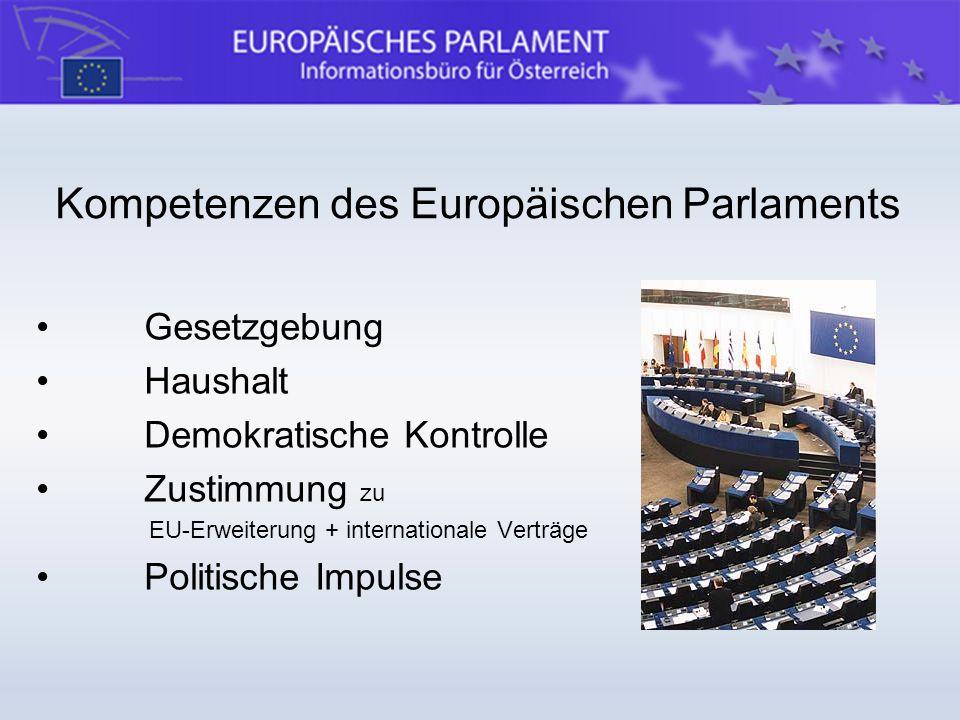 Kompetenzen des Europäischen Parlaments Gesetzgebung Haushalt Demokratische Kontrolle Zustimmung zu EU-Erweiterung + internationale Verträge Politisch