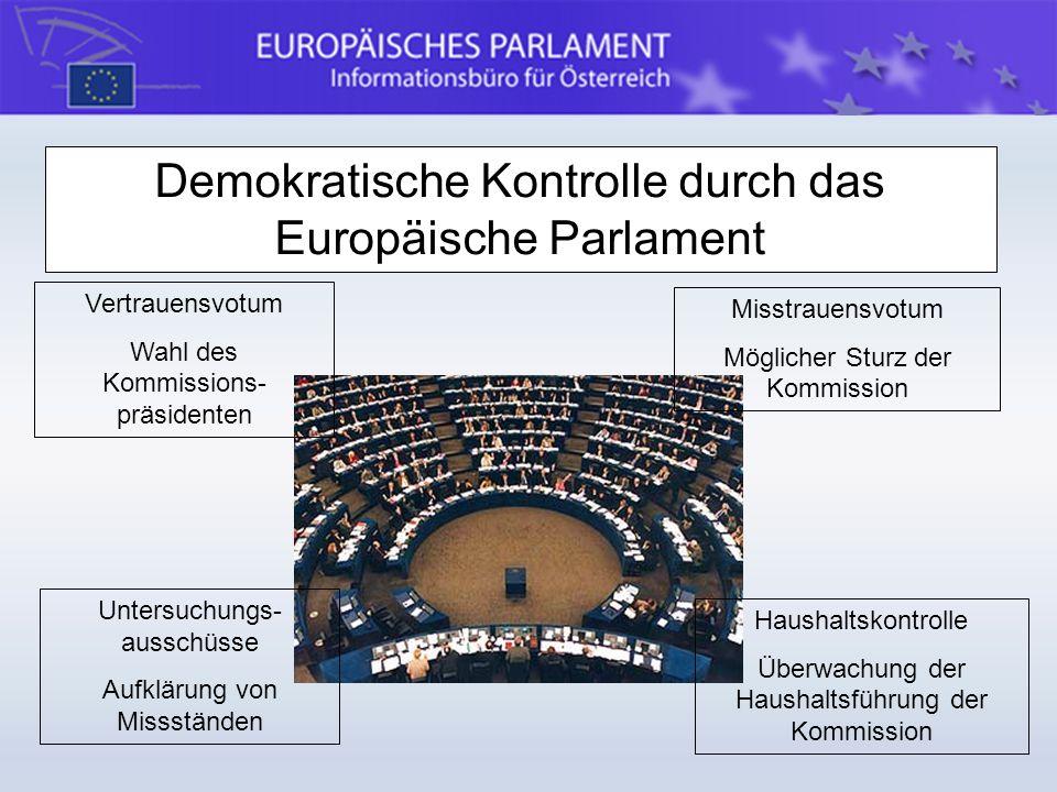 Demokratische Kontrolle durch das Europäische Parlament Vertrauensvotum Wahl des Kommissions- präsidenten Misstrauensvotum Möglicher Sturz der Kommiss