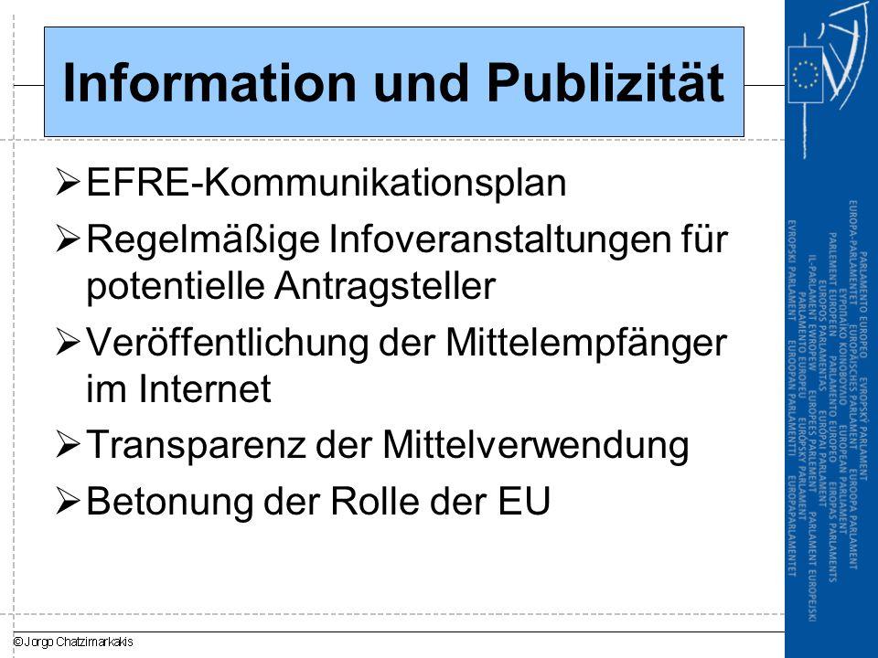 Information und Publizität  EFRE-Kommunikationsplan  Regelmäßige Infoveranstaltungen für potentielle Antragsteller  Veröffentlichung der Mittelempfänger im Internet  Transparenz der Mittelverwendung  Betonung der Rolle der EU