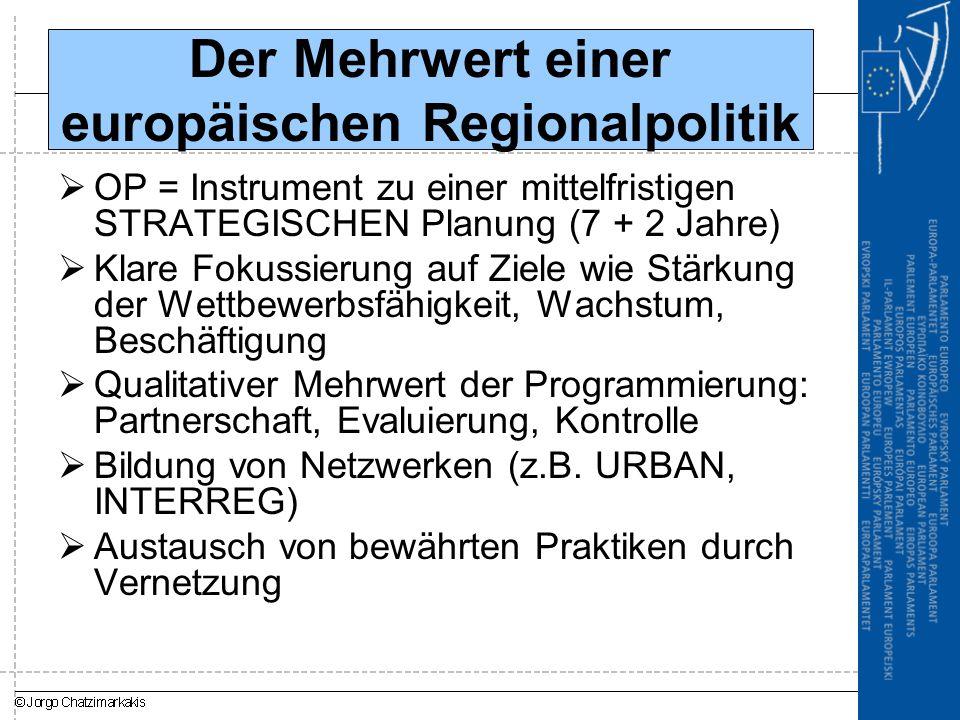 Der Mehrwert einer europäischen Regionalpolitik  OP = Instrument zu einer mittelfristigen STRATEGISCHEN Planung (7 + 2 Jahre)  Klare Fokussierung auf Ziele wie Stärkung der Wettbewerbsfähigkeit, Wachstum, Beschäftigung  Qualitativer Mehrwert der Programmierung: Partnerschaft, Evaluierung, Kontrolle  Bildung von Netzwerken (z.B.