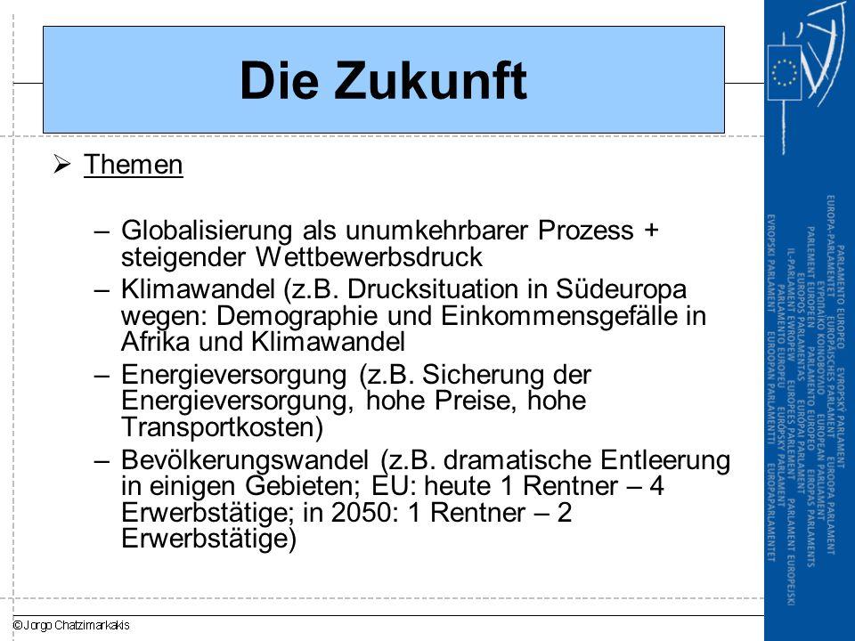 Die Zukunft  Themen –Globalisierung als unumkehrbarer Prozess + steigender Wettbewerbsdruck –Klimawandel (z.B.