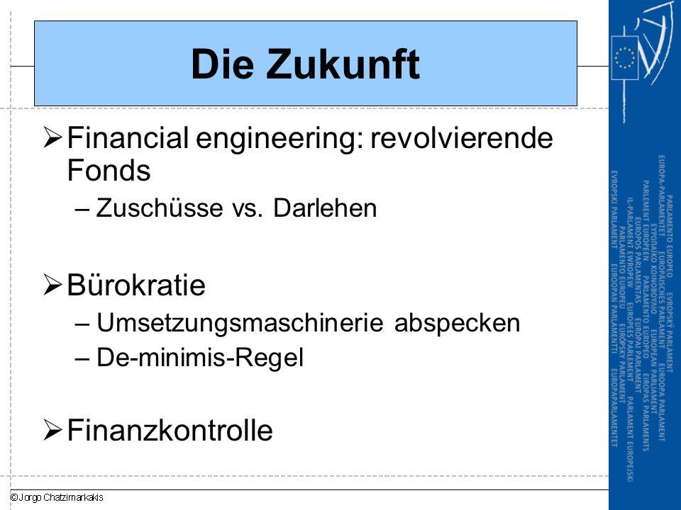 Die Zukunft  Financial engineering: revolvierende Fonds –Zuschüsse vs. Darlehen  Bürokratie –Umsetzungsmaschinerie abspecken –De-minimis-Regel  Fin