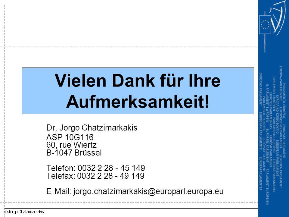 Vielen Dank für Ihre Aufmerksamkeit! Dr. Jorgo Chatzimarkakis ASP 10G116 60, rue Wiertz B-1047 Brüssel Telefon: 0032 2 28 - 45 149 Telefax: 0032 2 28