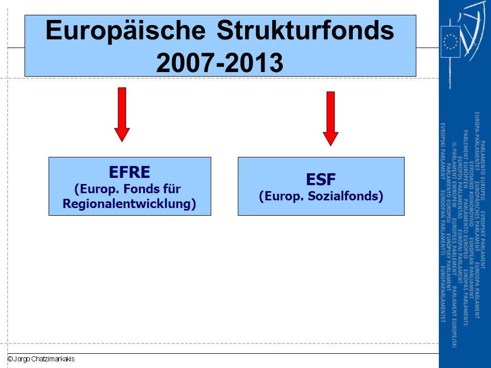 Europäische Strukturfonds 2007-2013 EFRE (Europ.Fonds für Regionalentwicklung) ESF (Europ.