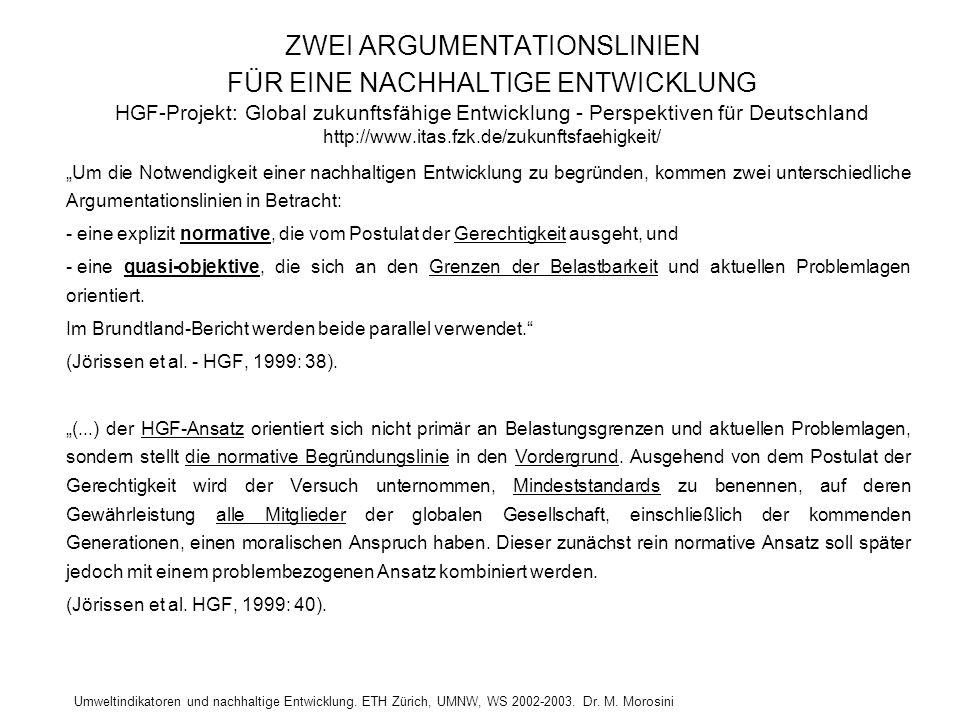 Umweltindikatoren und nachhaltige Entwicklung. ETH Zürich, UMNW, WS 2002-2003. Dr. M. Morosini ZWEI ARGUMENTATIONSLINIEN FÜR EINE NACHHALTIGE ENTWICKL