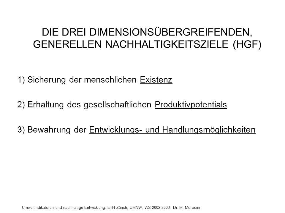 Umweltindikatoren und nachhaltige Entwicklung. ETH Zürich, UMNW, WS 2002-2003. Dr. M. Morosini DIE DREI DIMENSIONSÜBERGREIFENDEN, GENERELLEN NACHHALTI