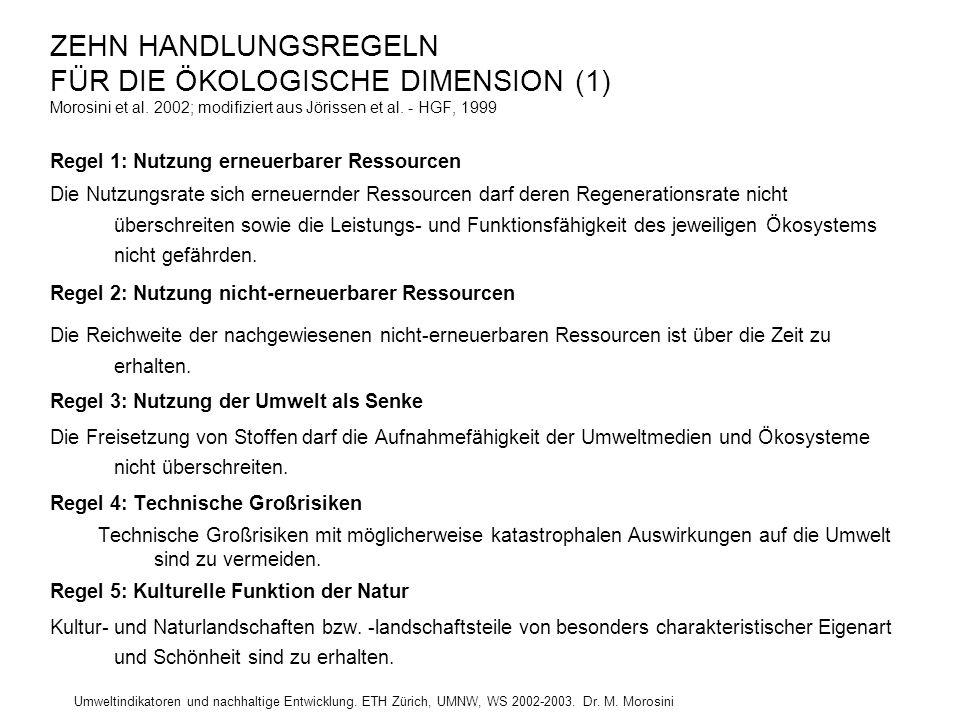 Umweltindikatoren und nachhaltige Entwicklung. ETH Zürich, UMNW, WS 2002-2003. Dr. M. Morosini ZEHN HANDLUNGSREGELN FÜR DIE ÖKOLOGISCHE DIMENSION (1)