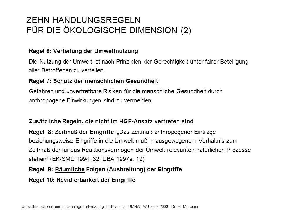 Umweltindikatoren und nachhaltige Entwicklung. ETH Zürich, UMNW, WS 2002-2003. Dr. M. Morosini ZEHN HANDLUNGSREGELN FÜR DIE ÖKOLOGISCHE DIMENSION (2)