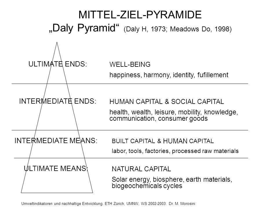 """Umweltindikatoren und nachhaltige Entwicklung. ETH Zürich, UMNW, WS 2002-2003. Dr. M. Morosini MITTEL-ZIEL-PYRAMIDE """"Daly Pyramid"""" (Daly H, 1973; Mead"""