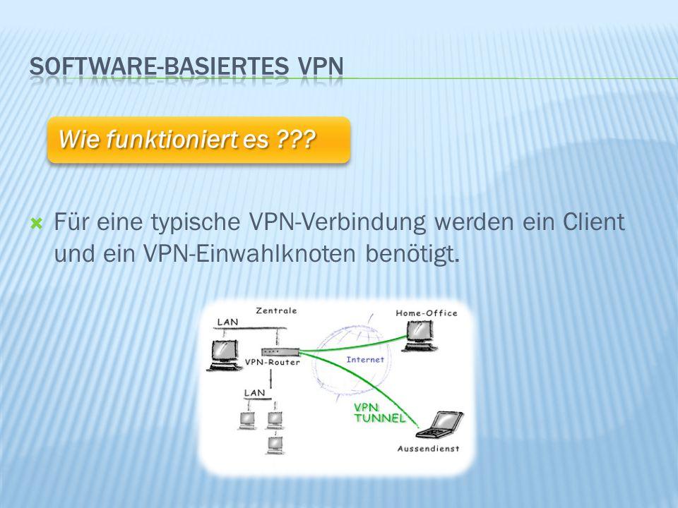  Der komplette Datentransfer (TCP/IP) wird mit Hilfe verschiedener Protokolle durch das öffentliche Netzwerk getunnelt  Die bekanntesten Protokolle sind IPSec, TLS/SSL, VipNet, PPTP, L2TP und PPPD (mit SSH) Wie funktioniert es ???