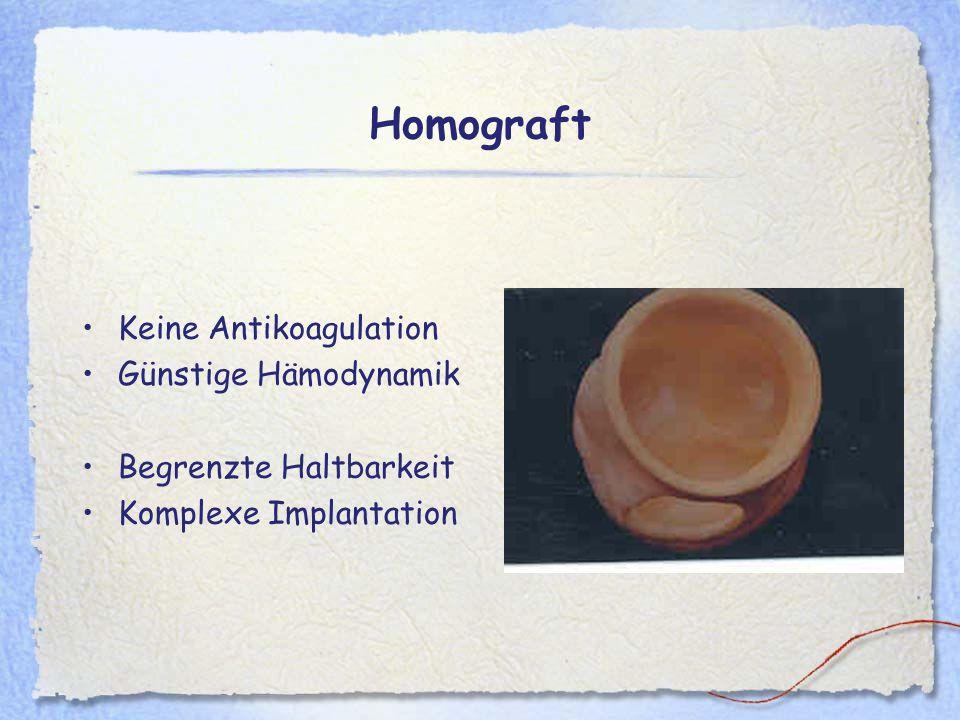 Homograft Keine Antikoagulation Günstige Hämodynamik Begrenzte Haltbarkeit Komplexe Implantation