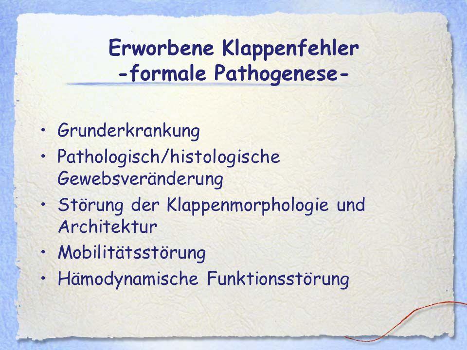 Erworbene Klappenfehler -formale Pathogenese- Grunderkrankung Pathologisch/histologische Gewebsveränderung Störung der Klappenmorphologie und Architek