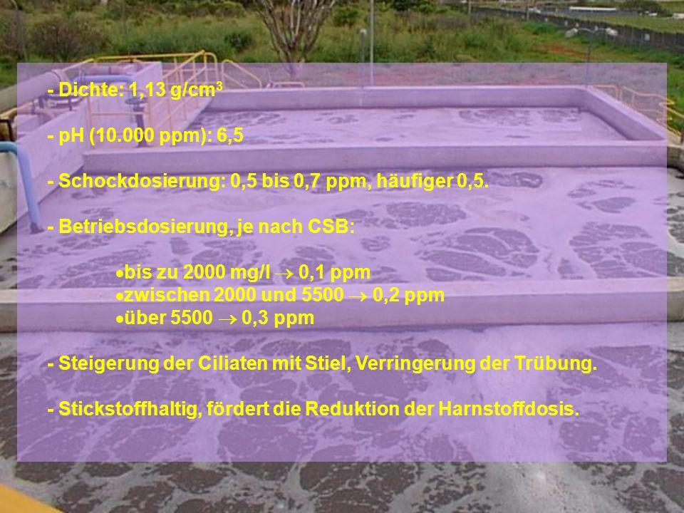 - Dichte: 1,13 g/cm 3 - pH (10.000 ppm): 6,5 - Schockdosierung: 0,5 bis 0,7 ppm, häufiger 0,5.
