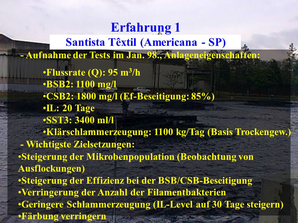 Erfahrung 1 Santista Têxtil (Americana - SP) - Aufnahme der Tests im Jan.