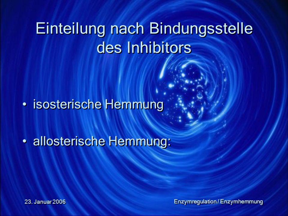 23. Januar 2006 Enzymregulation / Enzymhemmung Einteilung nach Bindungsstelle des Inhibitors isosterische Hemmung allosterische Hemmung: isosterische