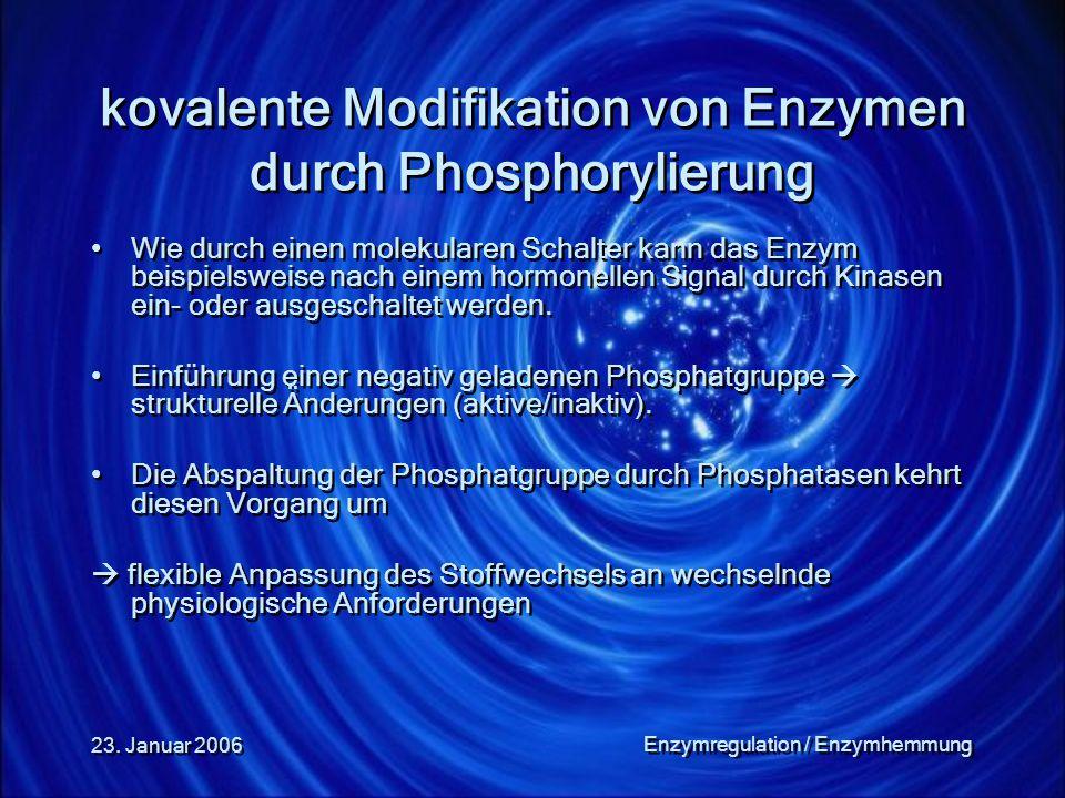 23. Januar 2006 Enzymregulation / Enzymhemmung kovalente Modifikation von Enzymen durch Phosphorylierung Wie durch einen molekularen Schalter kann das