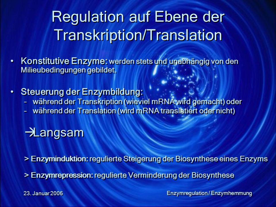 23. Januar 2006 Enzymregulation / Enzymhemmung Regulation auf Ebene der Transkription/Translation Konstitutive Enzyme: werden stets und unabhängig von