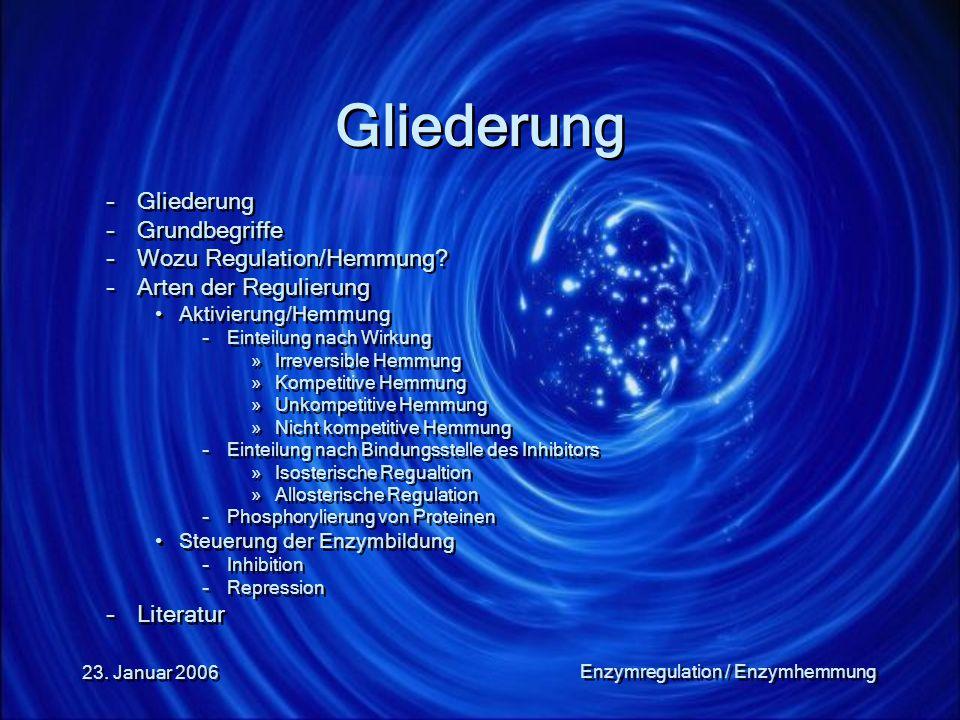 23. Januar 2006 Enzymregulation / Enzymhemmung Gliederung –Gliederung –Grundbegriffe –Wozu Regulation/Hemmung? –Arten der Regulierung Aktivierung/Hemm