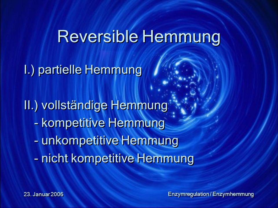 23. Januar 2006 Enzymregulation / Enzymhemmung Reversible Hemmung I.) partielle Hemmung II.) vollständige Hemmung - kompetitive Hemmung - unkompetitiv
