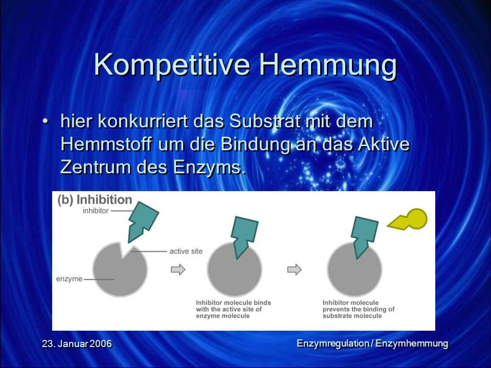 23. Januar 2006 Enzymregulation / Enzymhemmung Kompetitive Hemmung hier konkurriert das Substrat mit dem Hemmstoff um die Bindung an das Aktive Zentru