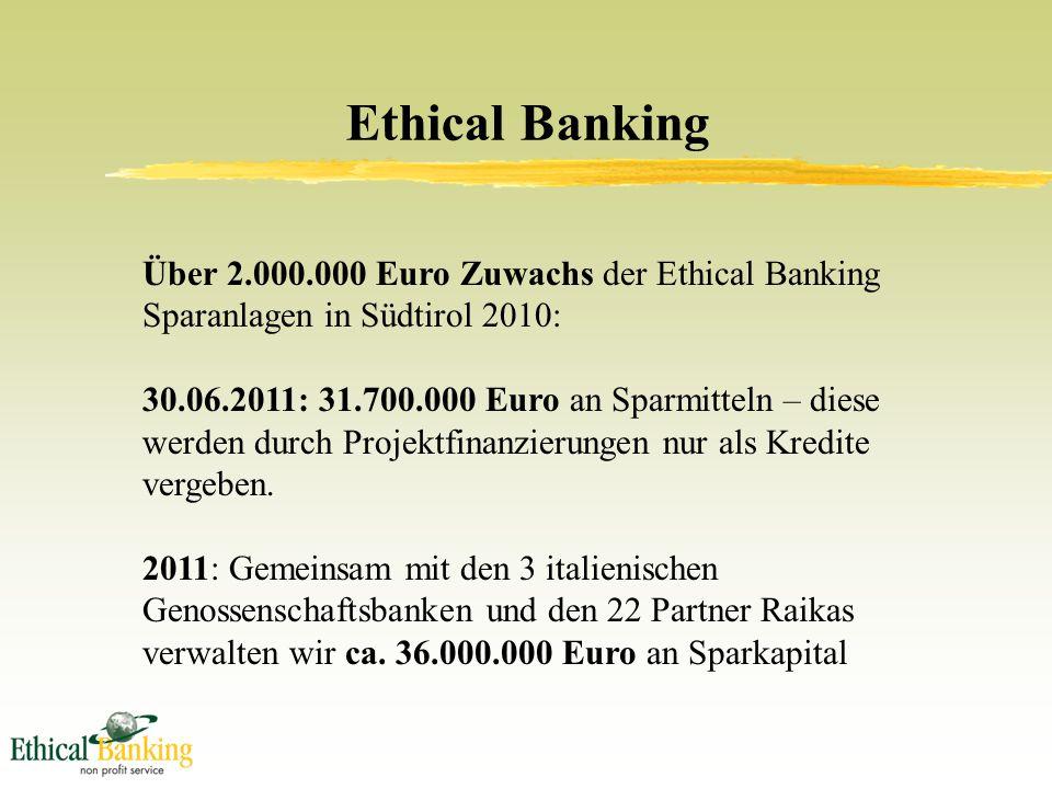 Ethical Banking Über 2.000.000 Euro Zuwachs der Ethical Banking Sparanlagen in Südtirol 2010: 30.06.2011: 31.700.000 Euro an Sparmitteln – diese werden durch Projektfinanzierungen nur als Kredite vergeben.