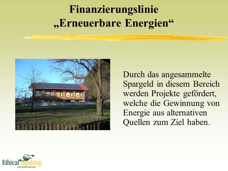 """Finanzierungslinie """"Erneuerbare Energien Durch das angesammelte Spargeld in diesem Bereich werden Projekte gefördert, welche die Gewinnung von Energie aus alternativen Quellen zum Ziel haben."""