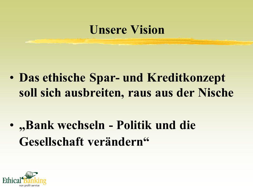 """Das ethische Spar- und Kreditkonzept soll sich ausbreiten, raus aus der Nische """"Bank wechseln - Politik und die Gesellschaft verändern Unsere Vision"""